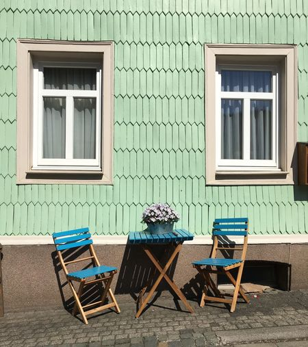 House Window Building Exterior Chair Architecture Residential Building Outdoors Door Built Structure Porch Table Relaxation Villa No People Summer Wood - Material Front Or Back Yard Day Green Color Holiday Villa