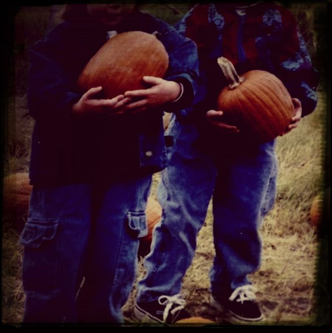 My friend and I at the pumpkin patch when we were kids.