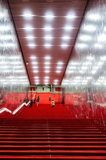 Mirror yourself... Way Up Reflection Stairs Architecture Illuminated Indoors  Real People Built Structure Group Of People Public Transportation Lighting Equipment Red Ceiling Incidental People Light