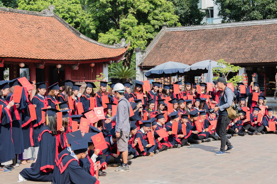 Vietnam, Hanoi - October 21, 2016: Vietnamese students have passed her exam degree and take a group photo Academy Concept Degree Exam Group Photo Hanoi Vietnam  Huế Imperial City Literature Temples National Academy Temple University Vietnam Vietnamese Students