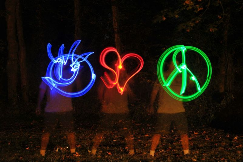 Illuminated Multi Colored Night Light Painting Creativity Long Exposure Glowing Dark Outdoors Colorful Symbol Bright Geometric Shape Blue Green Color Vibrant Color Red Overnight Success