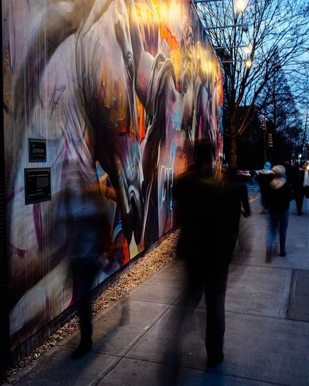 Art Is Everywhere Bowery NYC Blurred Motion Motion Real People Multi Colored City People Street Art Everybodystreet