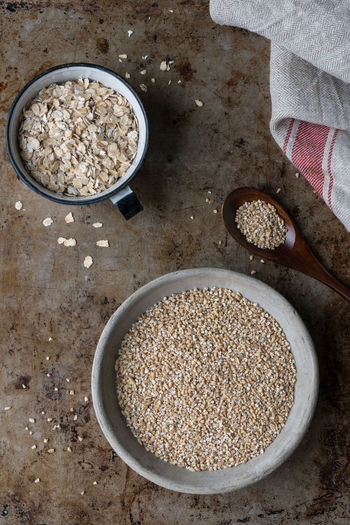 Steel Cut and Rolled Oats Food Food And Drink Healthy Eating Bowl Oats - Food Ingredient Cereal Plant Directly Above Oatmeal Rolled Oats Steel Cut Oats