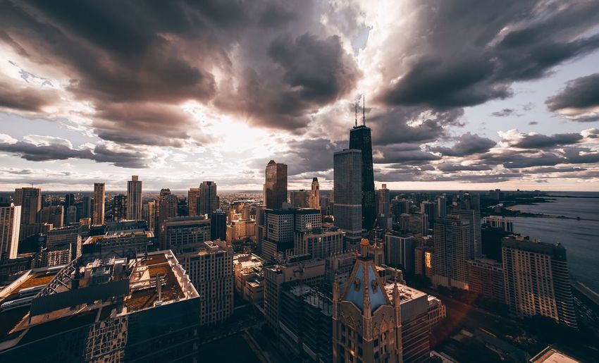 The Windy City Cityscape Cloud - Sky Architecture Skyscraper Sky Building Exterior Sunset City Built Structure Travel Destinations High Angle View Modern Urban Skyline No People Outdoors Storm Cloud Nature Day