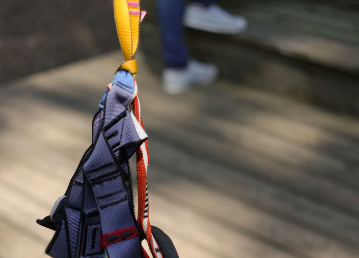 Close-up of safety harness