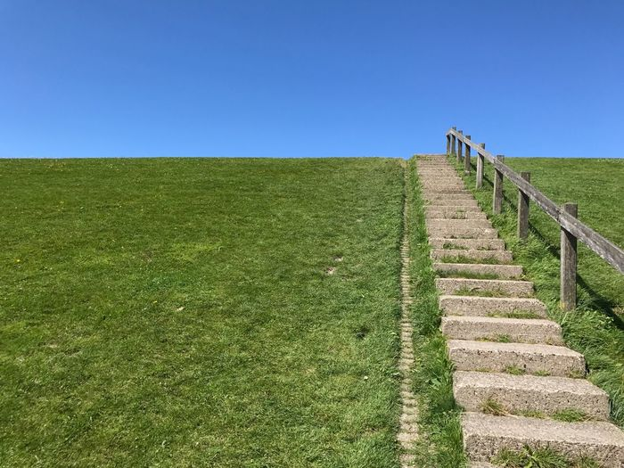 Stairs On Green Hill Against Clear Blue Sky