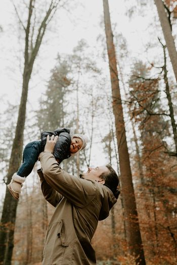 The pride of a Father Thankful Moment Life Father Tree Forest Plant Nature Two People Land A New Perspective On Life Human Connection