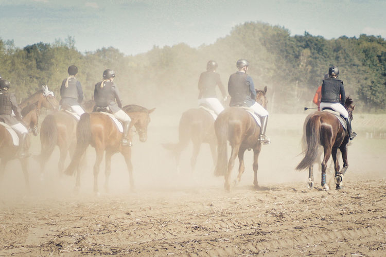 Group of people riding horses on a dusty field at traditional fuchsjagd