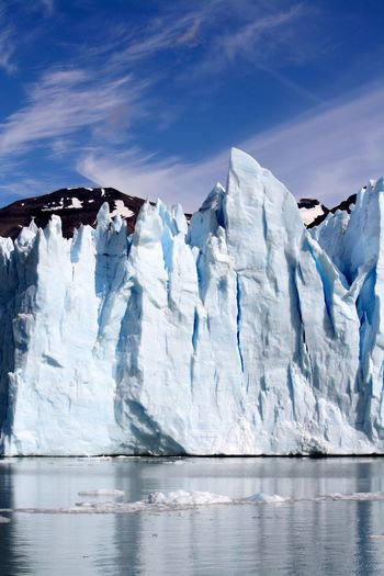 Ice floating on the sea in a spectacular glacial scenery