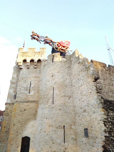 Santa Is Coming To Town Low Angle View Sky Architecture Bargate Southampton England 🇬🇧 Historical Building Clear Sky Xmas Merry Christmas Feliz Navidad Joyeux Noël Papa Noel Santa Claus Trineo Inglaterra