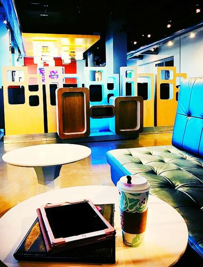 Aloft Hotel Downtown OKC Business Woman Coffee Tablet Oklahoma City Alofthotel Aloft Hotel Lobby Hotel Technology Indoors  No People Seat Table Chair Screen Business Device Screen