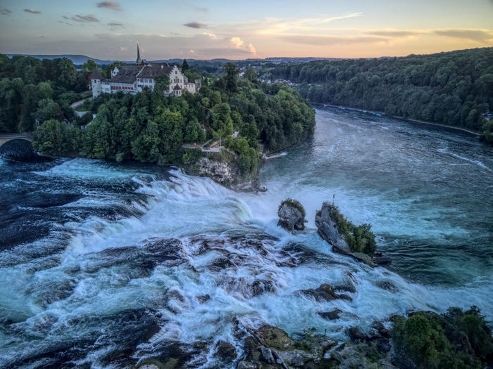 Drone  Rheinfall Beauty In Nature Dji Dronephotography Droneshot Mavic Pro Motion Nature No People Outdoors River Scenics Sunset Switzerland View From Above Water Waterfall