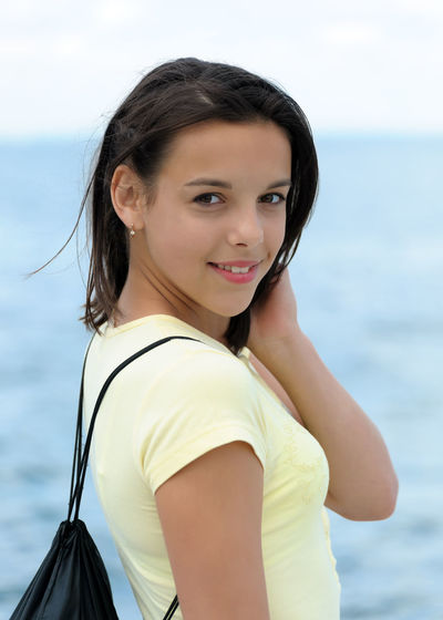 , Rucksack Backpack Brunette Caucasian Girl Ocean Portrait Sea Sport Teen Teenager Water Young