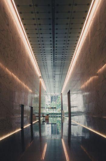 Digital composite image of empty subway