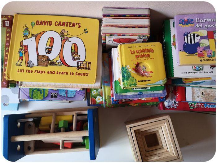 Full frame shot of books in box
