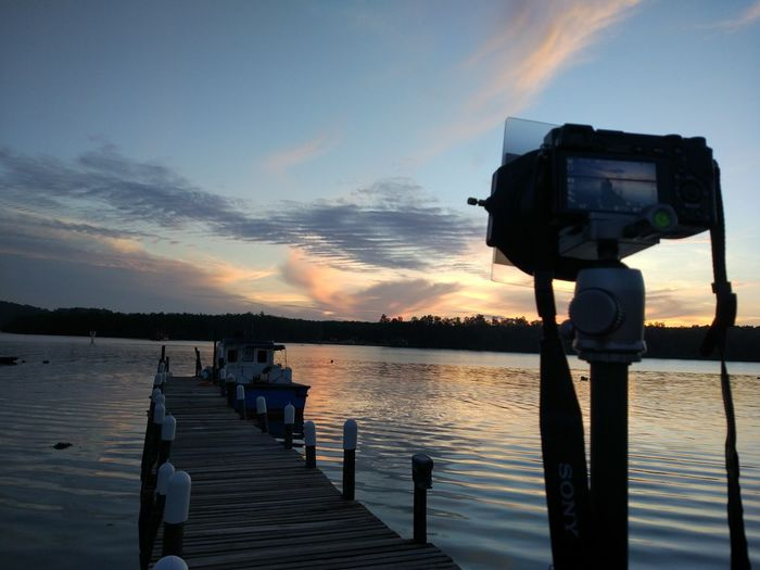 Let's shooting Photography Themes Camera - Photographic Equipment Tripod Nature Tranquility Lake Outdoors Technology No People Sky Day Landscape View Scenics Beauty In Nature Water Behindthescenes Sunrise Photography