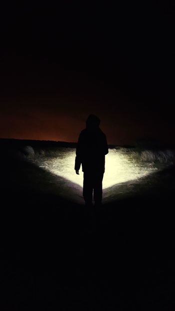 Nightphotography Torchlight Darkness Walking Light And Shadow Horizon Over Land Having Fun Liverpool, England Formby Silhouette Full Length Beach Sunset One Man Only Rear View
