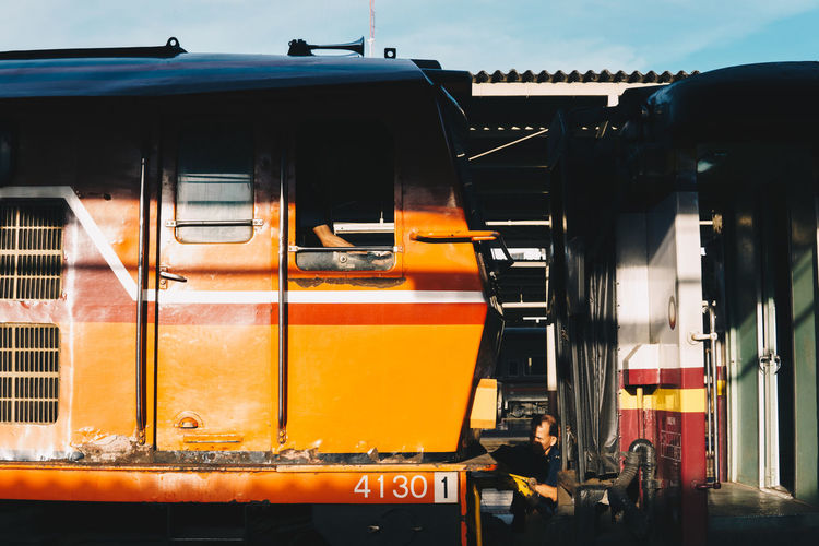 Mode Of Transportation Orange Color Outdoors Public Transportation Rail Transportation Streetphotography Train Transportation Travel Yellow The Street Photographer - 2018 EyeEm Awards