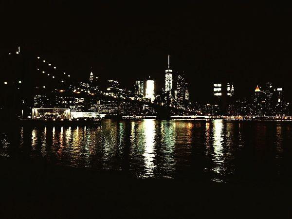 New York City Brooklynbridge Night Illuminated