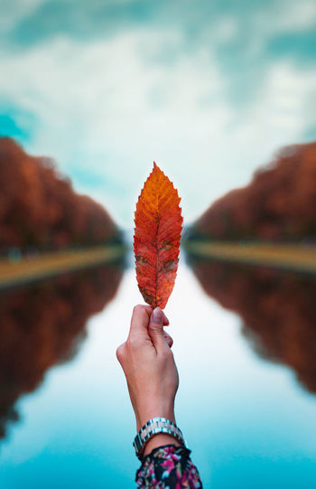 Payîz V2.03 Autumn Hand Leaf Water Orange Color Nature Human Body Part Beauty In Nature Day Lifestyles Personal Perspective Lake Outdoors Leaves Düsseldorf EyeEm Best Shots EyeEm Nature Lover EyeEm Selects EyeEm Best Edits Tamron Nikon NRW Herbst StillLifePhotography Payîz