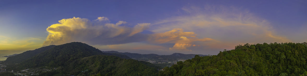 aerial view scenery sunset red cloud in blue sky above Patong mountain Sunset,sunrise,sun Landscape,landmark, Pagoda Building Patong Beach Phuket Travel, Rocky, Bright, Sunshine, Nature Clouds And Sky Nature