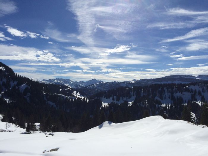 During a hike in Allgäu Winter Snow Cold Temperature Mountain Nature Panorama Aussicht Mittelalpe Sonnenschein  First Eyeem Photo