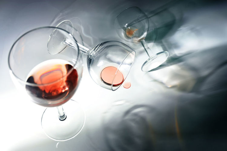 High angle view of wine glasses on table
