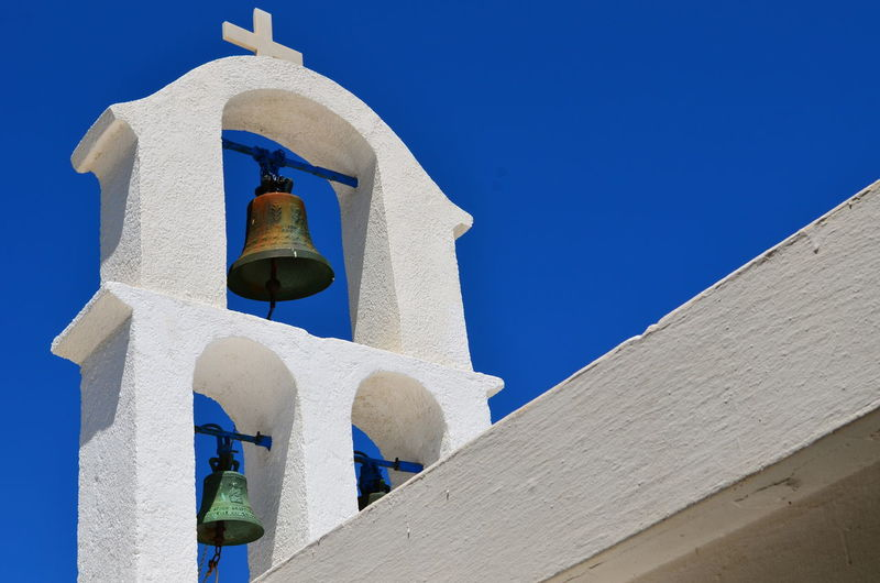 Architectural Column Architecture Belfry Bell Blue Blue Sky Built Structure Chapel Church Clear Sky Construction Culture Day Greece Greek Low Angle View No People Orthodox Church Outdoors Religious Architecture Sky Structures Traditional White