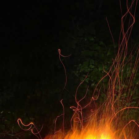 Night No People Nature Outdoors Red Forest Illuminated Beauty In Nature Fire Campfire Campfire Art Campfire Flames