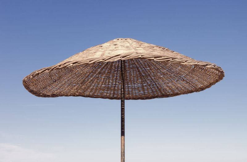 Beach Umbrella against blue Sky - Cirali, Antalya Province, Turkey, Asia Beach Life Beach Photography Rattan Relaxing Shade Vacations Wicker Beach Beach Umbrella Beachphotography Clear Sky Close-up Low Angle View No People Outdoors Relax Relaxation Single Object Summer Sun Sunshade Tourism Travel Destinations Tropical Climate Umbrella