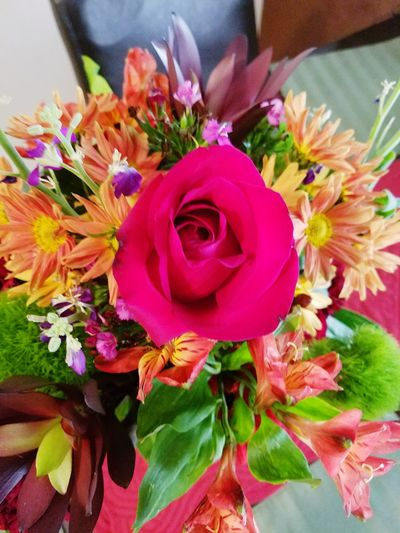Roses Flower Fragility Freshness Petal Flower Head Beauty In Nature Bouquet Close-up Rose - Flower Bunch Of Flowers Nature Indoors  High Angle View Vibrant Color Blossom Vase Multi Colored Springtime Flower Arrangement In Bloom