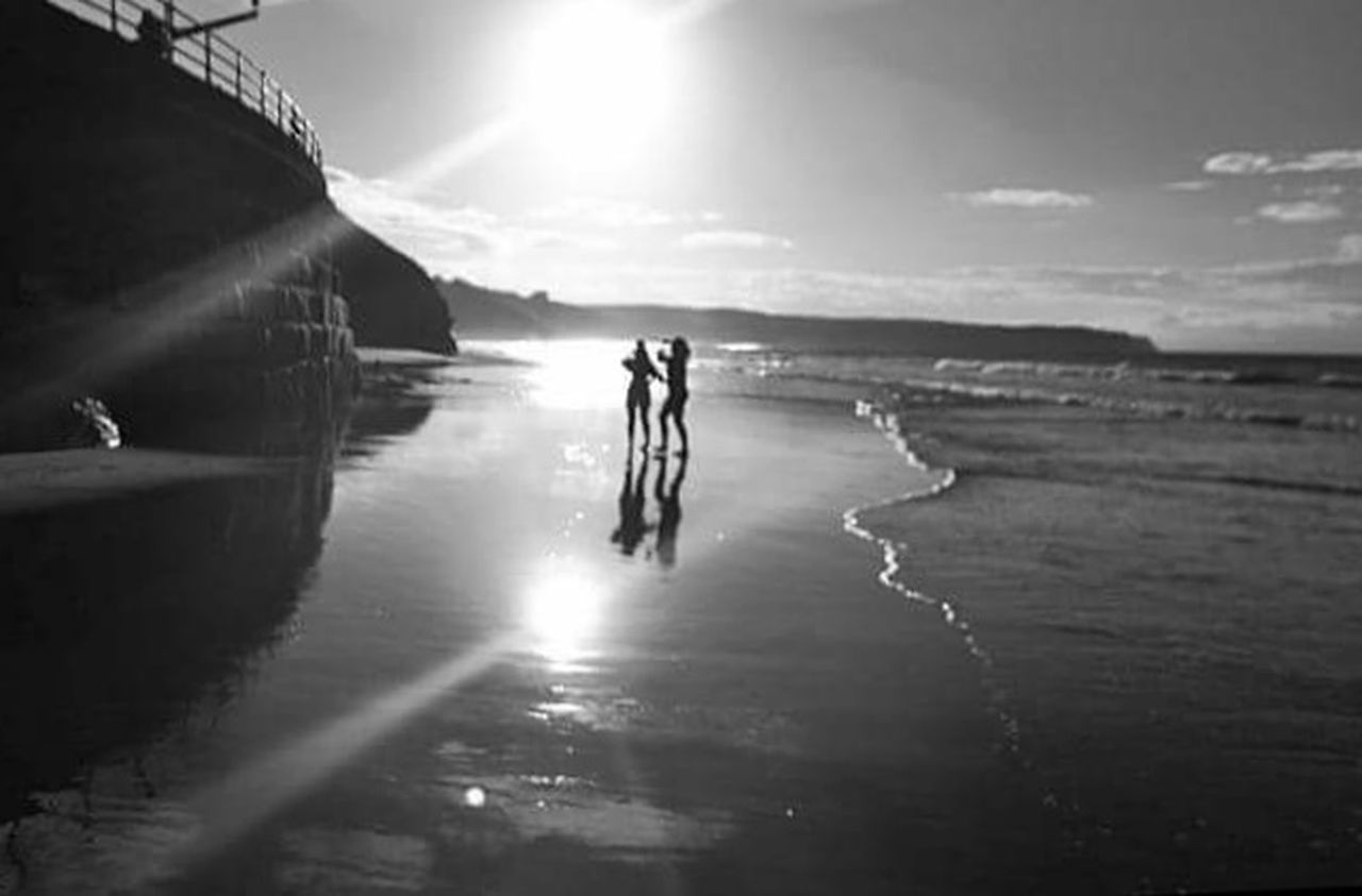 two people, silhouette, outdoors, day, beach, sport, full length, adults only, togetherness, water, adult, nature, people, sea, sky, friendship, young adult, only men