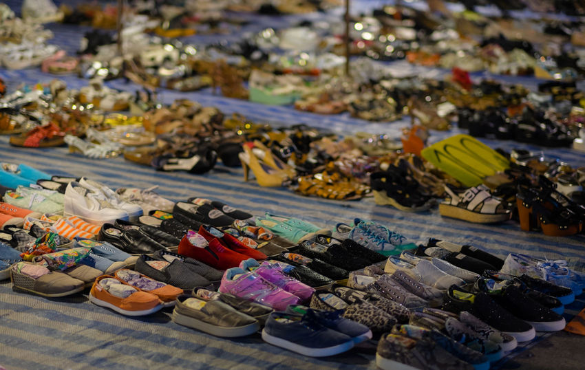 Consumerism Fashion In A Row Large Group Of Objects Market Night Night Market Night Market In Thailand No People Outdoors Second Hand Second Hand Market Second Hand Shoes Second Hand Shop  Shoes Street Market Street Market In Thailand Thailand Variation The Photojournalist - 2017 EyeEm Awards