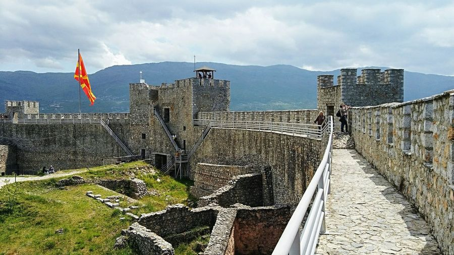 On Ohrid fortress Macedonia Tourist Destination Medieval Fortress Fortress Walls Fortress Of Stone Fortress Towers Fortress View Archeological Ruins Archeological Complex Culture Heritage Fortress In Europe Outdoor Photography Historical Place Fortress Europe Ohrid Republic Of Macedonia Outdoors Cloud - Sky Sky Day People Flag History Travel Destinations