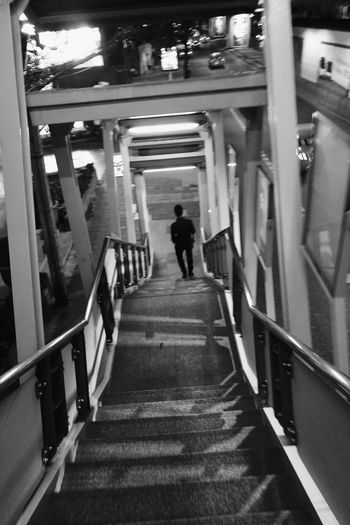 BTS station Capture The Moment Travel Bangkok One Person Nightphotography Black And White Huawei P9 Leica City Candid Photography High Angle View Outdoors Street