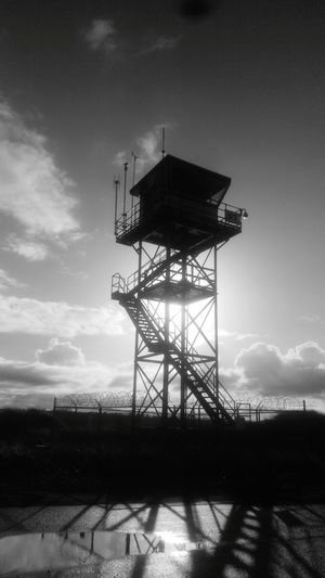 Tower, north jetty, b&w, sky, Outdoors Cloud - Sky No People Stairs, Antenne, barbed wire,