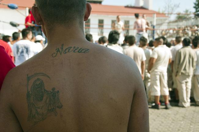 Tatoo Death Muerte Tatoos Maria Jail Prisoner Mexico Scar Man Back Ring Fight Fighting Freedom Nude_model