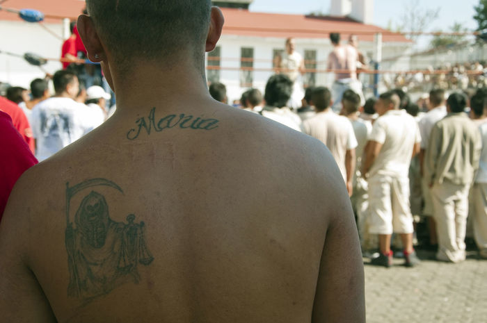 Tatoo Death Muerte Tatoos Maria Jail Prisoner Mexico Scar Man Back Ring Fight Fighting Freedom Nude_model