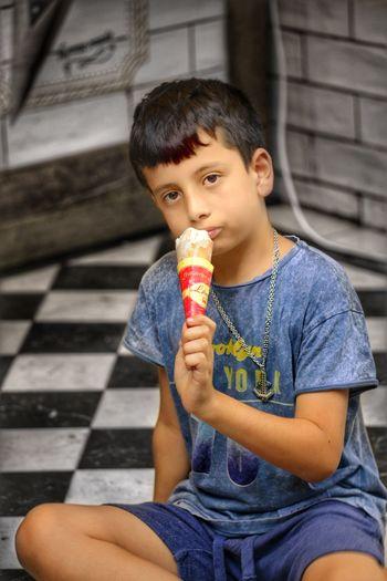 Eating Ice Cream~ Ice Cream Cone Sweet Food Childhood Ice Cream Frozen Food Child Boys Holding Eating Portrait Looking At Camera Flavored Ice EyeEm Selects EyeEm Gallery EyeEm Best Edits EyeEmNewHere EyeEmBestPics EyeEm Best Shots