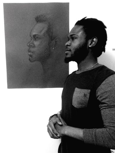 Model standing in comparison with a portrait I did of him last year Black & White Art ArtWork Portrait Drawing Artist Art By Me Draw Blackandwhite