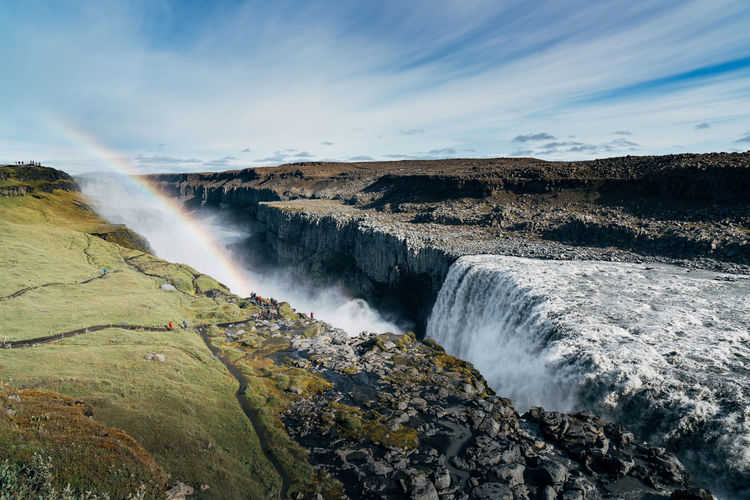 Blue Sky Dramatic Sky Green Iceland Landscape Nature Rainbow Rocks Valley Waterfall