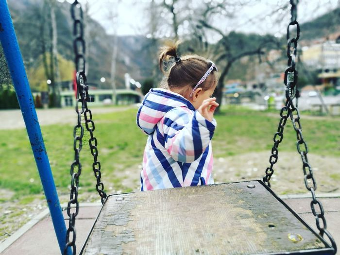 Swing Cute Baby Girl Chilhood Kids Playing Kids Playground Stylish Baby Child Childhood Girls Casual Clothing Outdoor Play Equipment Playground Preschool Age Babyhood Toddler  Slide