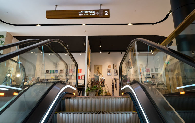 View of escalator in city