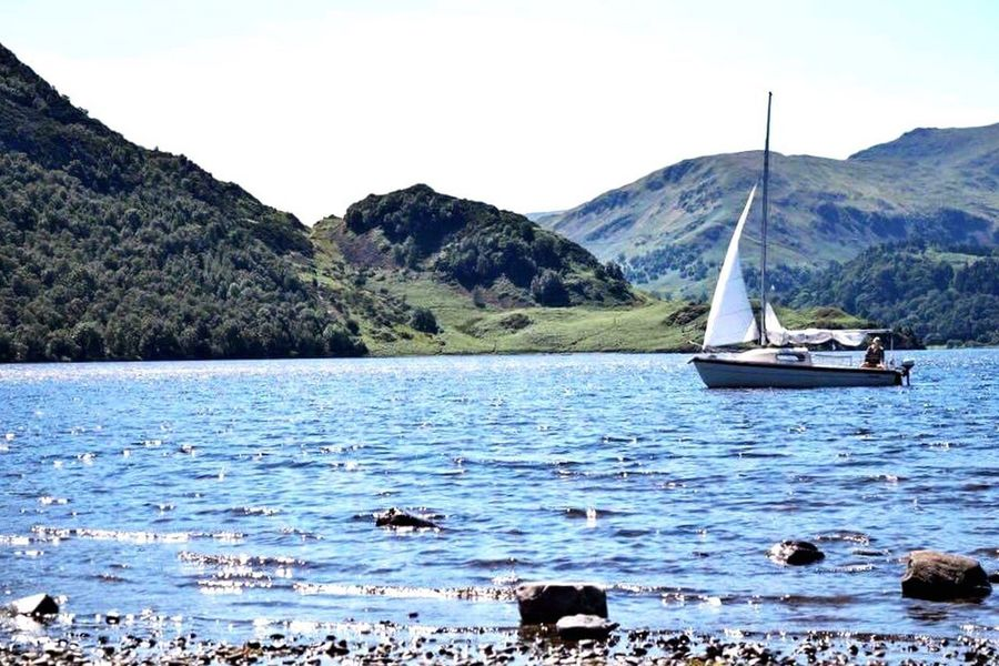 Boating on the lake Mountain Water Nature Outdoors Sailboat Scenics Nautical Vessel Rock - Object Mountain Range Travel Destinations Beauty In Nature Landscape Day Sky Sailing Beach Lakes  Lakedistrict Ullswater Still Lakedistrictnationalpark Lakedistrictuk Ullswater, Lake District, Ullswater Lake Yachting First Eyeem Photo