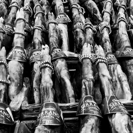 Schweinebeine. Serrano Serrano Ham Jamon Supermarket Food Foodporn Blackandwhite Pork Pork Leg Food Photography Dried Food SPAIN Mallorca Palma Food Stories