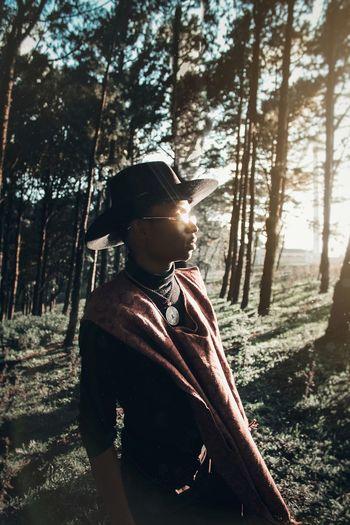 Fashion Photography EyeEm Best Shots Portrait Visual Creativity Tree Forest Sunlight Adventure Men Sky Hiker