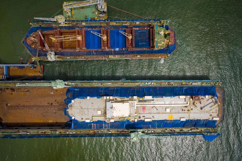 Ship at sea shore