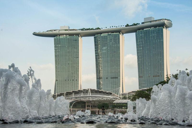 Fountains Against Marina Bay Sands
