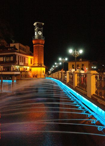 Amasya Saat Kulesi Architecture Building Exterior Built Structure City Illuminated Night No People Outdoors Sky