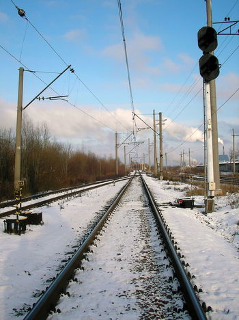 Architecture Cold Temperature Day Electricity Pylon Metal Nature No People Outdoors Rail Transportation Railroad Station Railroad Track Russia Russia, St.Petersburg Russian Sankt Petersburg Sky Snow Transportation Tree Winter